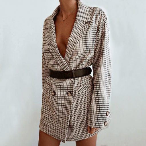Robe blazer à carreaux