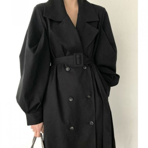 trench-coat long oversize noir