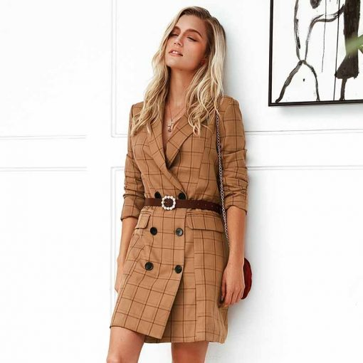 Robe blazer à carreaux marron