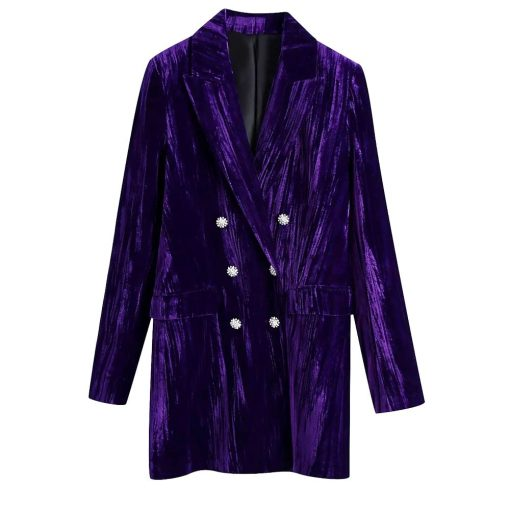 tendance mode fashion Robe blazer double rangée de boutons en velours